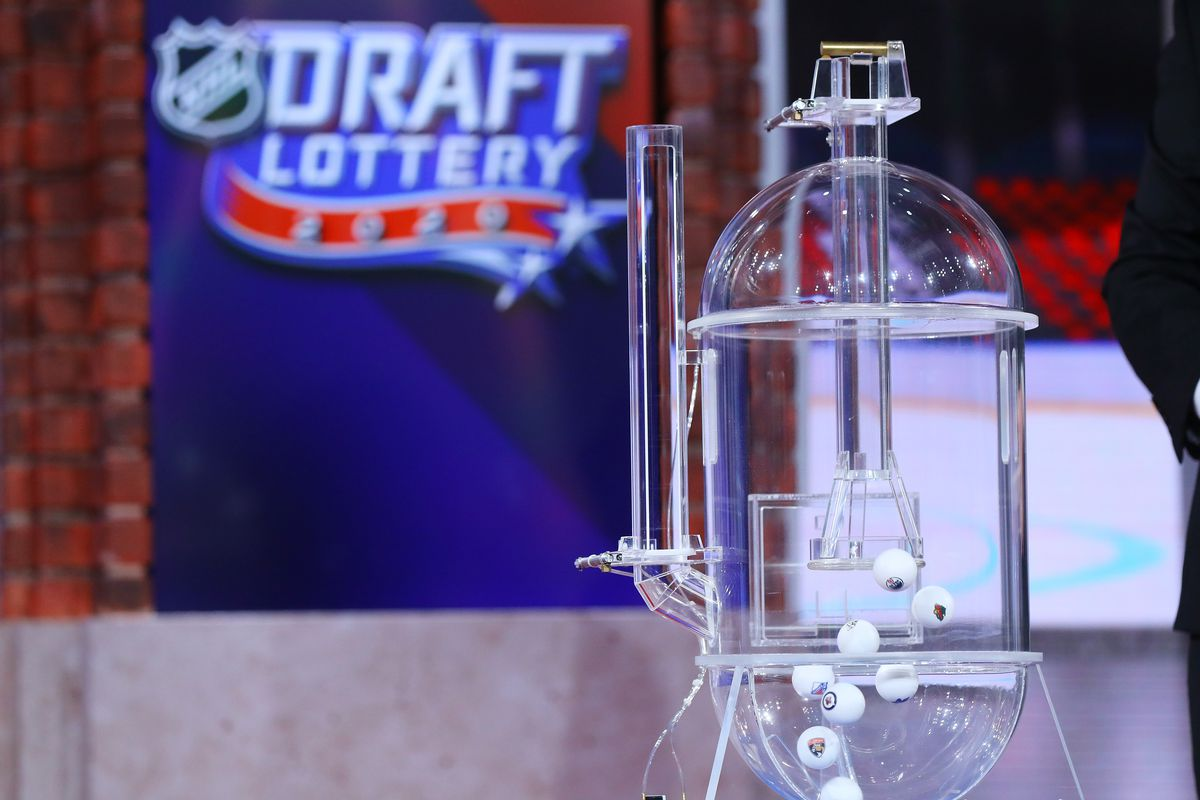 The lottery balls take flight during Phase 2 of the 2020 NHL Draft Lottery on August 10, 2020 at the NHL Network's studio in Secaucus, New Jersey.