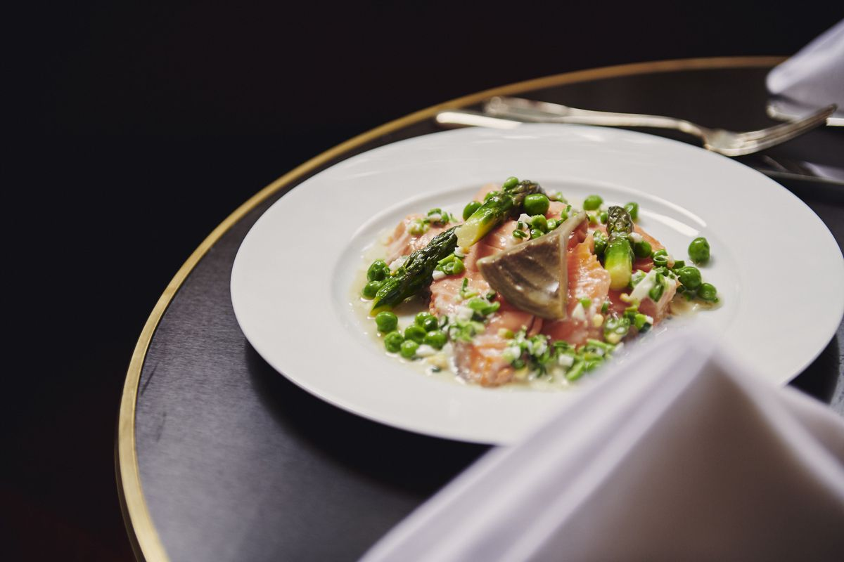 Gently cooked salmon with sweet pea mimosa