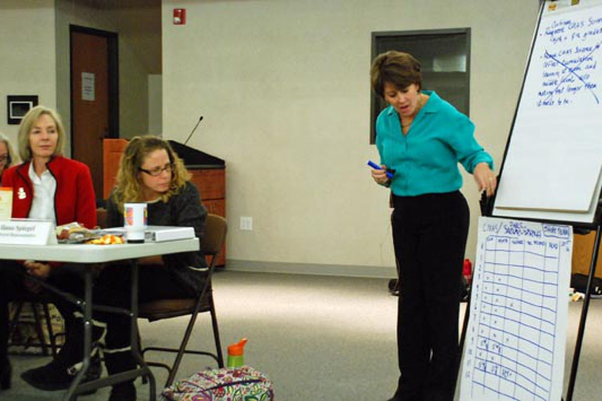 Testing task force facilitator Laura Lefkovitz (right) filled several big sheets of paper Monday trying to keep up with the group's deliberations.