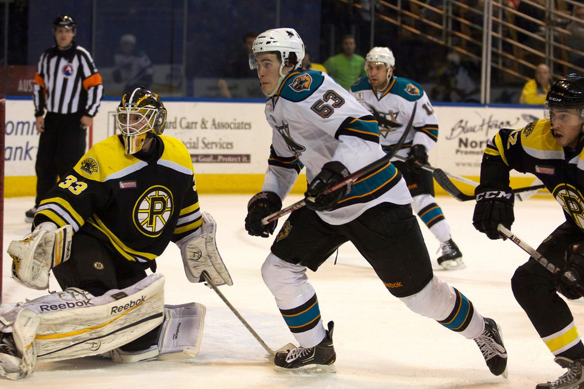 Worcester Sharks forward Brandon Mashinter, seen here pursuing the puck, got off the schneid Saturday night by scoring the game-winning-goal in the Sharks' 3-2 win over the Bruins at the DCU Center.