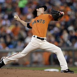 San Francisco Giants starting pitcher Tim Lincecum throws to the Los Angeles Dodgers during the first inning of a baseball game Friday, Sept. 7, 2012, in San Francisco.