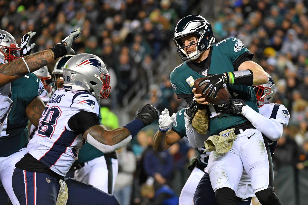 New England Patriots outside linebacker Elandon Roberts sacks Philadelphia Eagles quarterback Carson Wentz during the second quarter at Lincoln Financial Field.