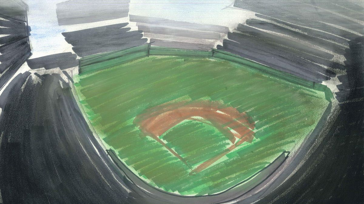 Watercolor illustration looking down on an empty baseball stadium