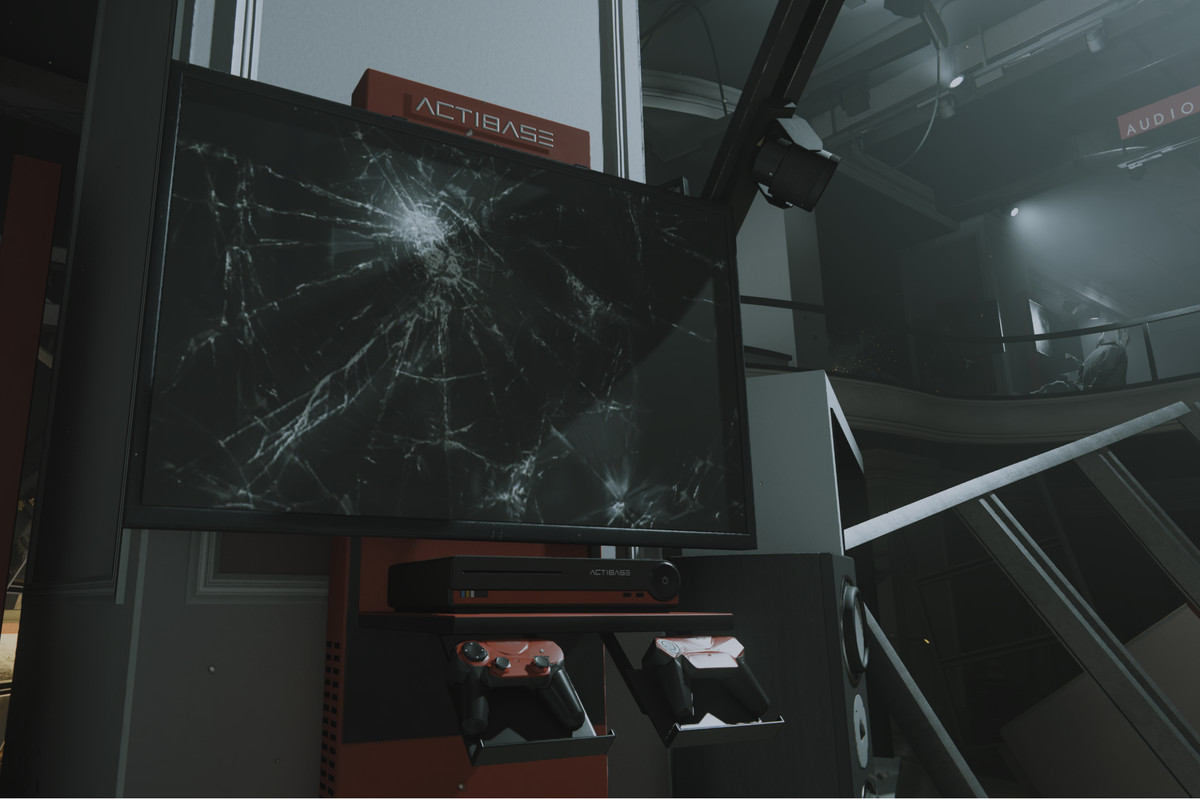 """A shot-up kiosk of a fictitious """"Actibase"""" console in Call of Duty: Modern Warfare"""
