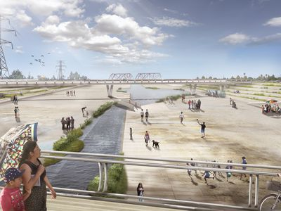 Near Cudahy Park, the riverbank would be lined with terraced seating.