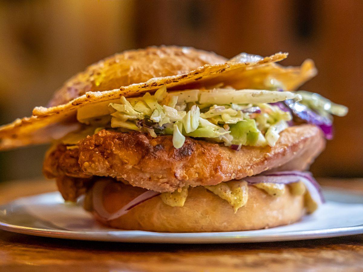 A fried chicken sandwich at the Kon-Tiki