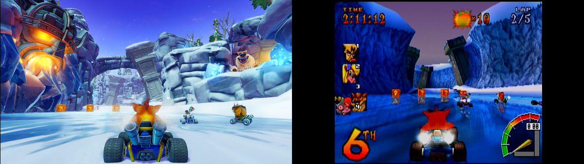 comparison screenshots of Polar Pass from Crash Team Racing Nitro-Fueled and Crash Team Racing