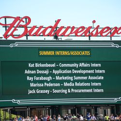12:49 p.m. Summer interns being acknowledged on the right field video board -