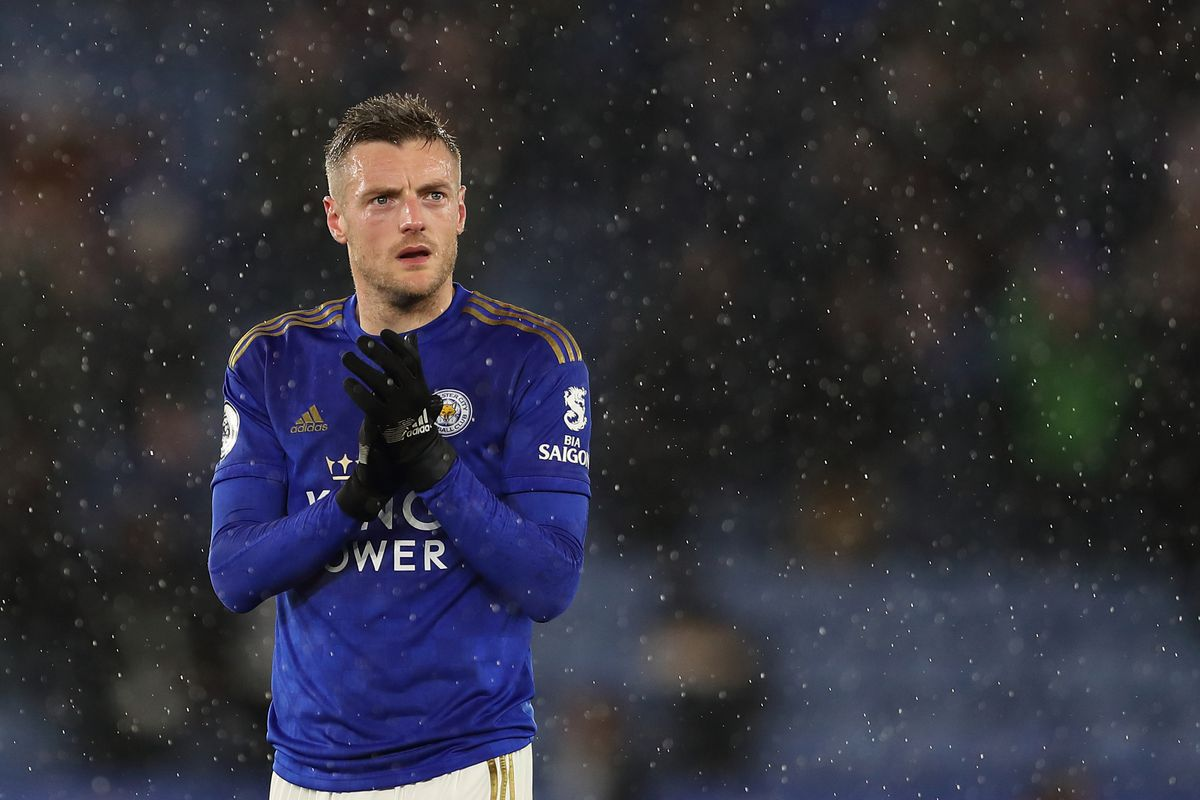 Jamie Vardy of Leicester City at full time of the Premier League match between Leicester City and Aston Villa at The King Power Stadium on March 9, 2020 in Leicester, United Kingdom.