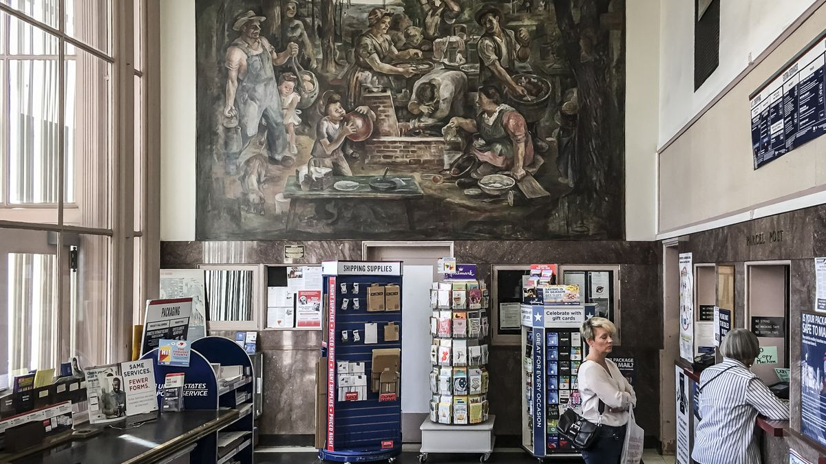 """This mural by Manuel Bromberg at the Geneva post office, 26 S. Third St., is titled """"Fish Fry in the Park."""""""