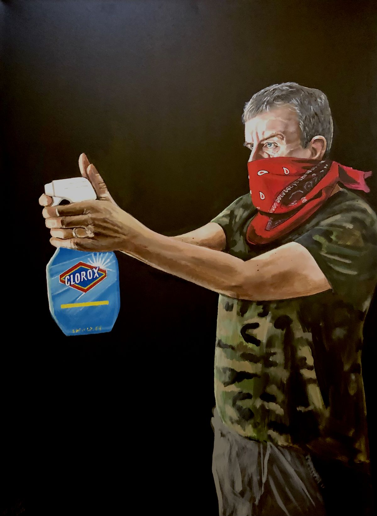 """""""Clorox,"""" by Phil Gayter, is a portrait of his twin brother, Paul Gayter, also an artist."""