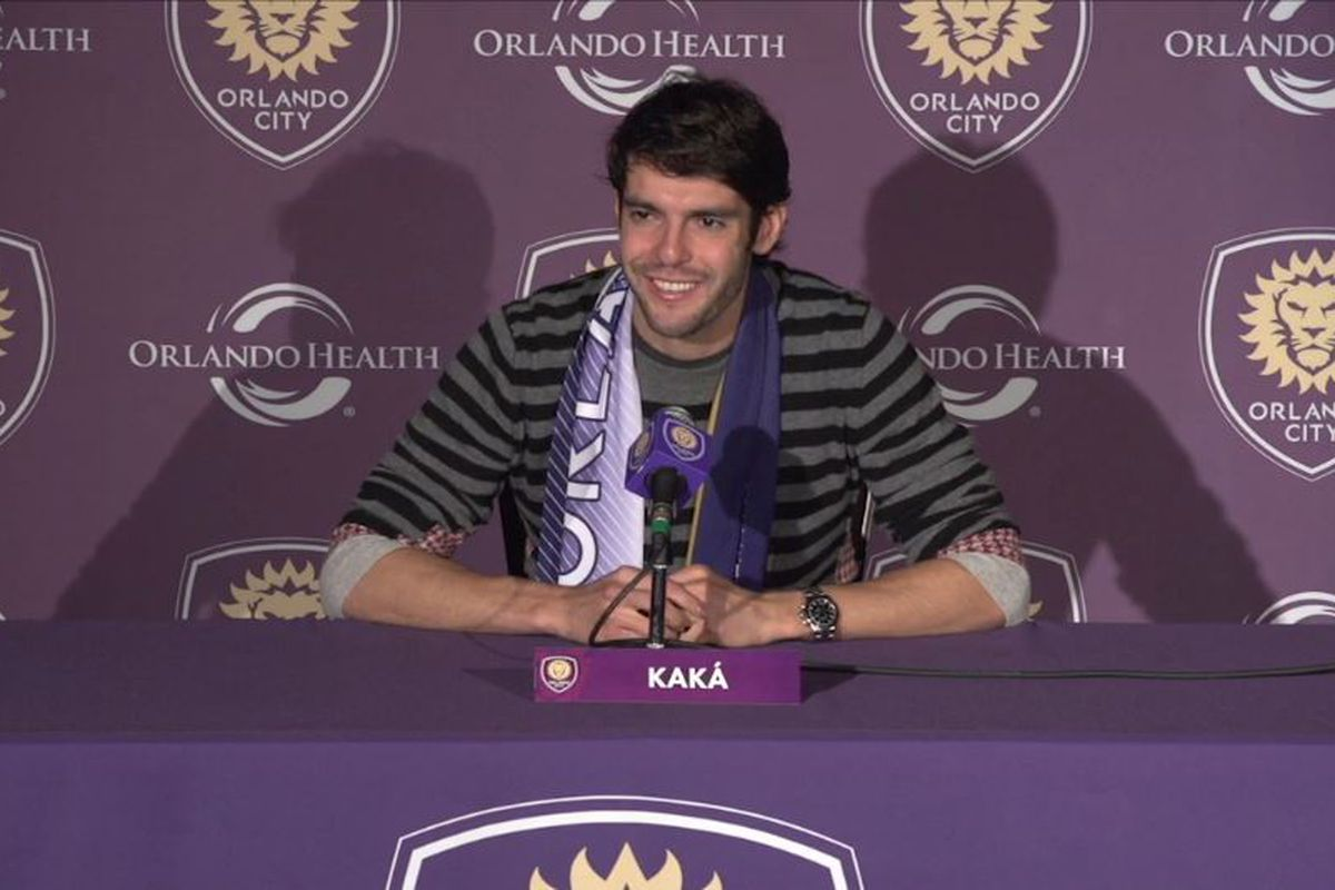 Kaka takes on the press after Orlando City's first practice of 2015