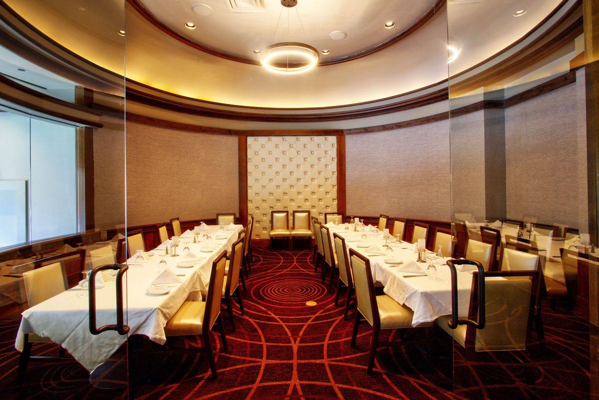 A view of a private dining room