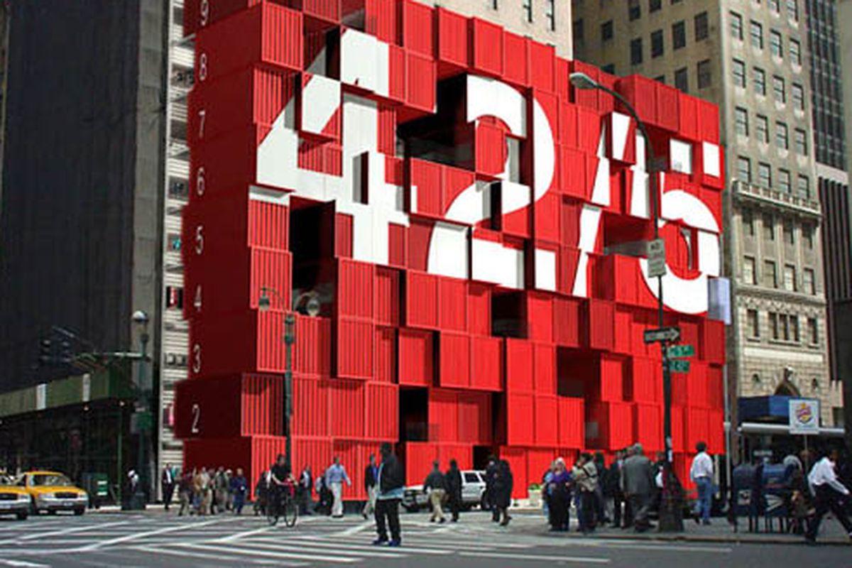 "Image via <a href=""http://inhabitat.com/2010/10/22/lot-eks-nine-level-shipping-container-mall-for-new-york-city/lot-ek-shipping-container-mall-3/"">Inhabitat</a>"