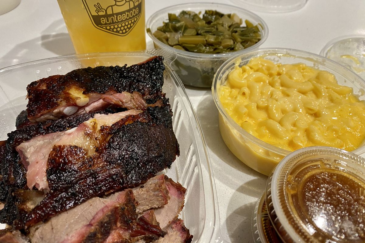 Ribs, tea, and sides from Aunteaboba x Supreme Barbecue