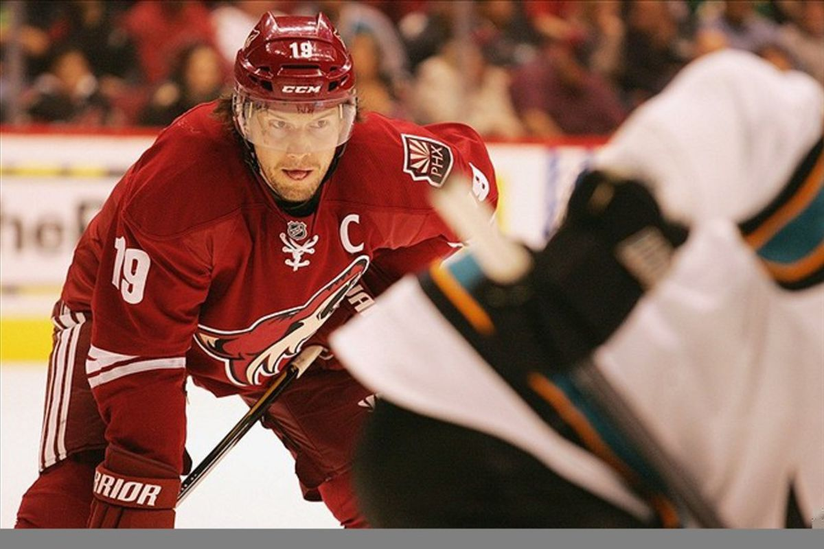 Mar 10, 2012; Glendale, AZ, USA; Phoenix Coyotes right wing Shane Doan (19) during a face off during the first period against the San Jose Sharks at Jobing.com Arena.  Mandatory Credit: Jake Roth-US PRESSWIRE