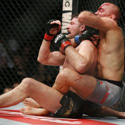 After knocking down Bisping with a punch, St-Pierre takes the back of Bisping and sinks in a rear naked choke.