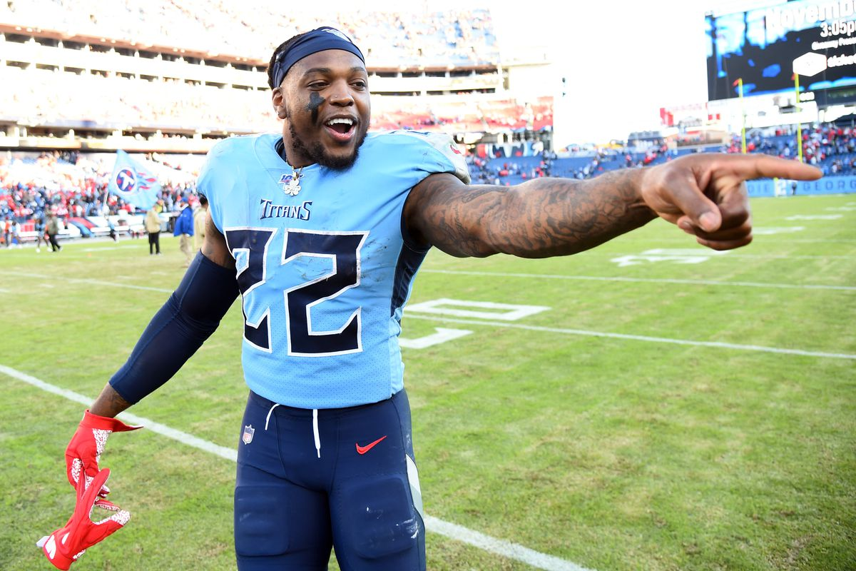 Tennessee Titans running back Derrick Henry celebrates after defeating the Kansas City Chiefs at Nissan Stadium.