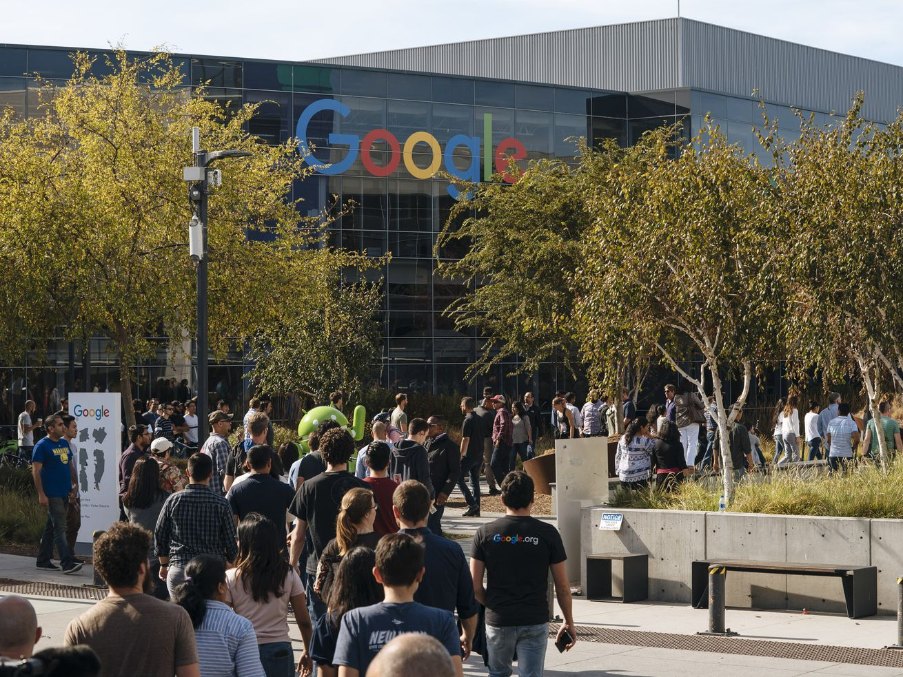 Google employees in Mountain View, CA, walk off the job to protest the company's handlings of sexual misconduct claims.