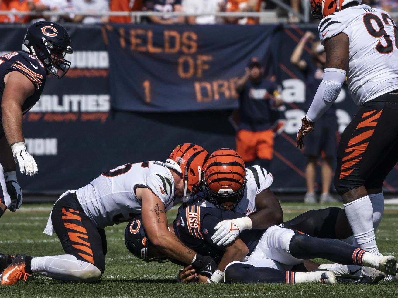Bears quarterback Justin Fields made a huge play when he recovered his own fumble in the third quarter Sunday against the Bengals at Soldier Field.