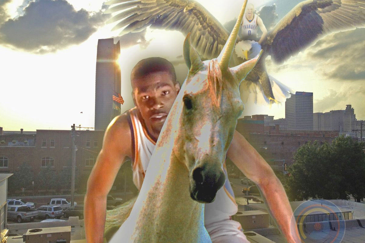 Russ hasn't gotten his air legs yet, but KD knows how to pilot one heck of a unicorn.