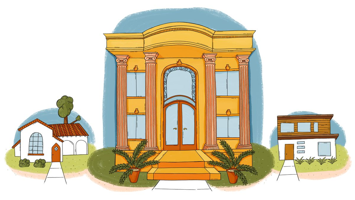 An illustration of 3 homes on a street, with the Persian Palace in the center, taking up the entire lot.