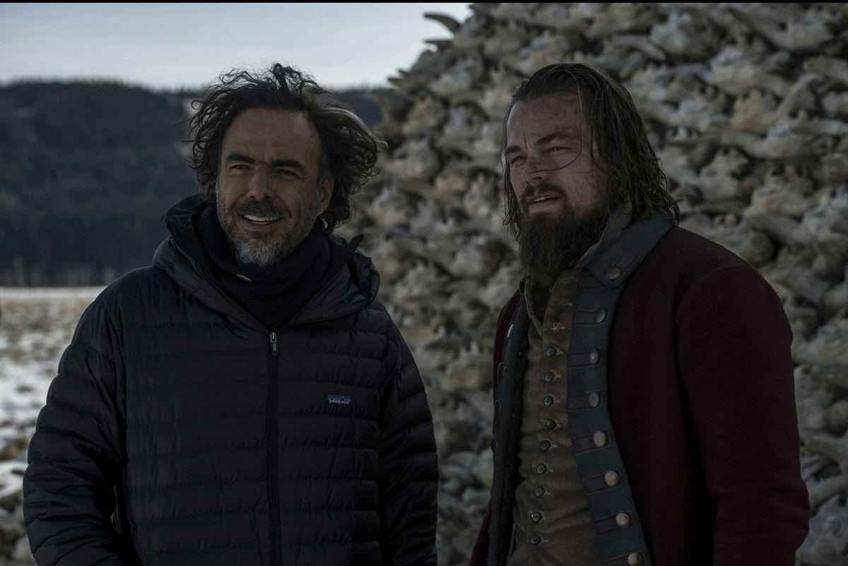 Alejandro G. Iñárritu and Leonardo DiCaprio on the set of The Revenant