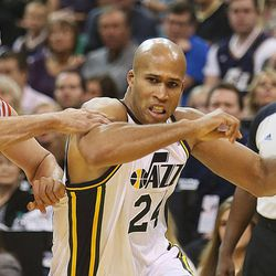 Utah Jazz's small forward Richard Jefferson (24) tries to drive past Houston's Francisco Garcia as the Jazz and the Rockets play Saturday, Nov. 2, 2013 in EnergySolutions arena. Jazz lost 104-93.