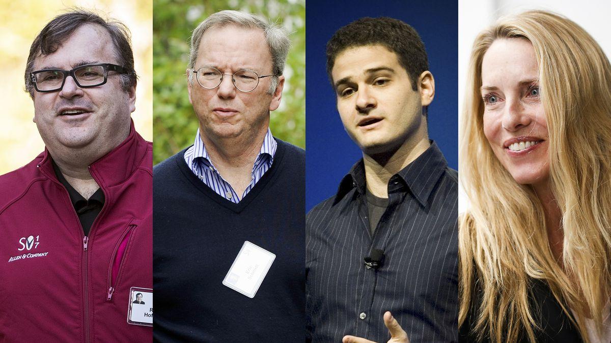 Photos of Reid Hoffman, Eric Schmidt, Dustin Moskovitz, and Laurene Powell Jobs.