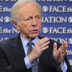 """In this Sunday, April 22, 2012, photo provided by CBS News Sen. Joseph Lieberman, I-Conn., Chairman of the Homeland Security and Governmental Affairs Committee, speak on CBS's """"Face the Nation"""" in Washington. Lieberman spoke about the Secret Service scandal."""