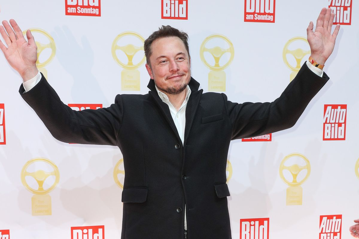 Elon Musk poses with his arms raised.