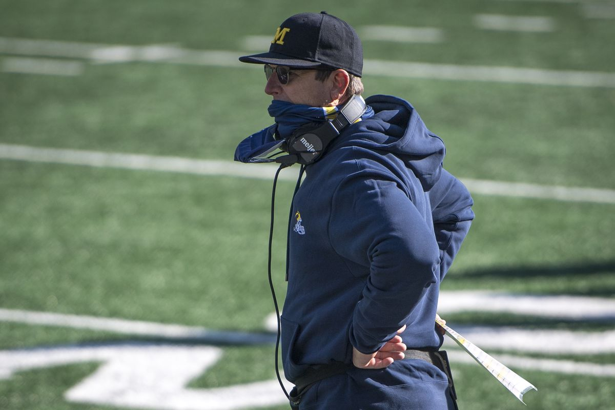 Head coach Jim Harbaugh of the Michigan Wolverines looks on during the fourth quarter against the Michigan State Spartans at Michigan Stadium on October 31, 2020 in Ann Arbor, Michigan.