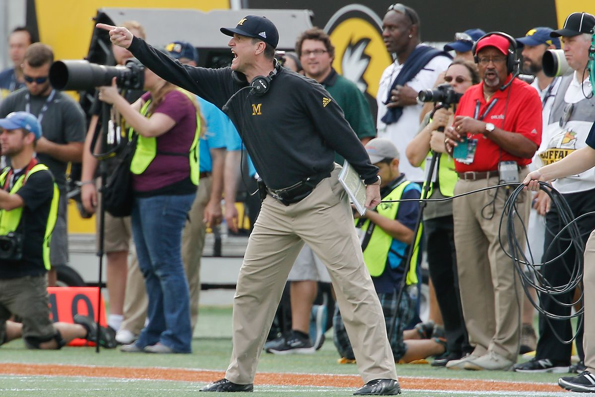 wholesale dealer 7e839 2cfea Jim Harbaugh is planning a slumber party with a high school kicker recruit