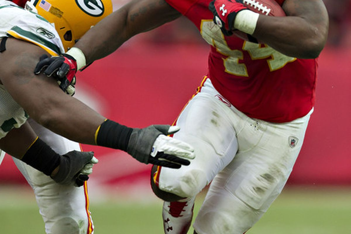 KANSAS CITY, MO:   Le'Ron McClain #44 of the Kansas City Chiefs runs the ball against the Green Bay Packers at Arrowhead Stadium in Kansas CIty, Missouri.  The Chiefs defeated the Packers 19-14.   (Photo by Wesley Hitt/Getty Images)