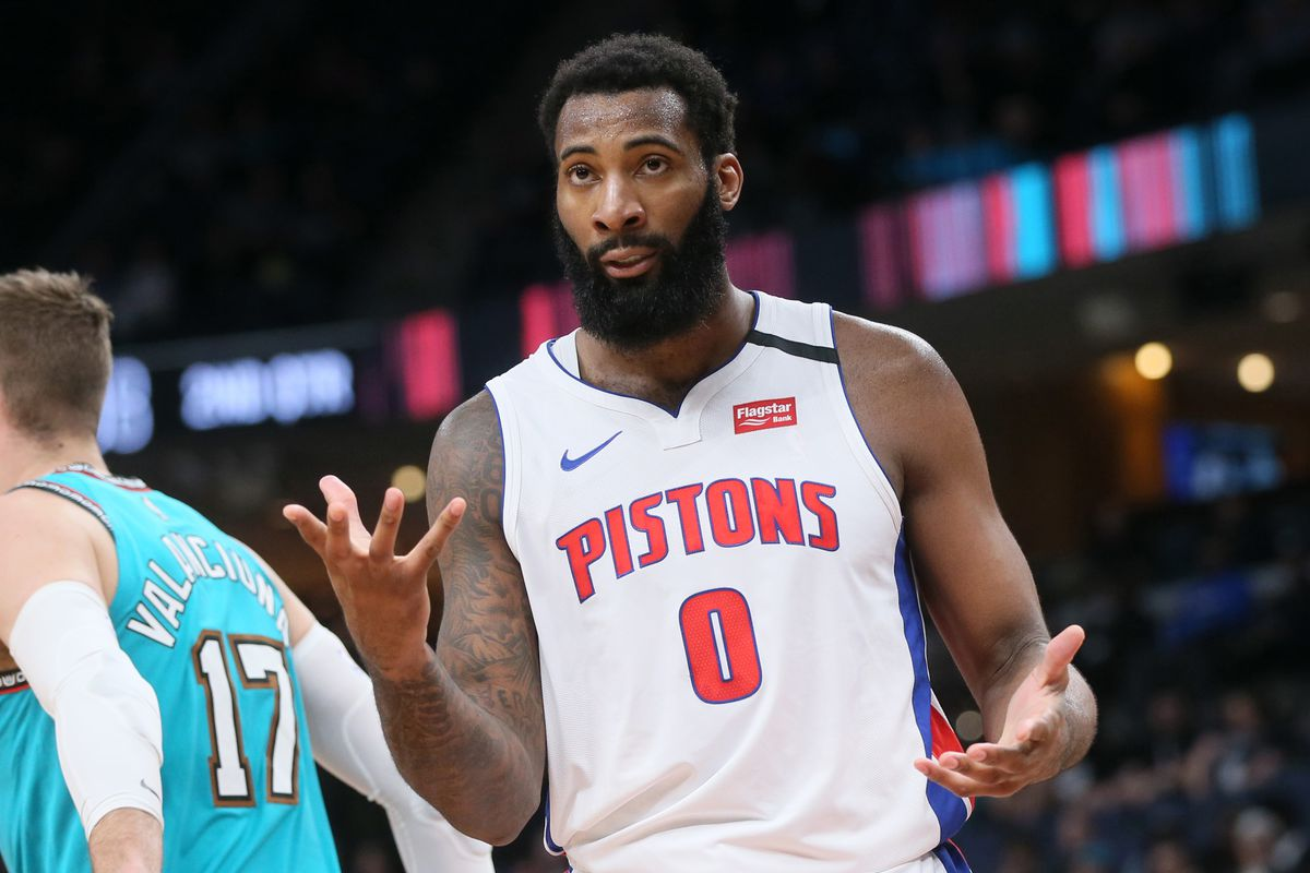 Detroit Pistons center Andre Drummond looks for a call by an official during the second quarter against the Memphis Grizzlies at FedExForum.