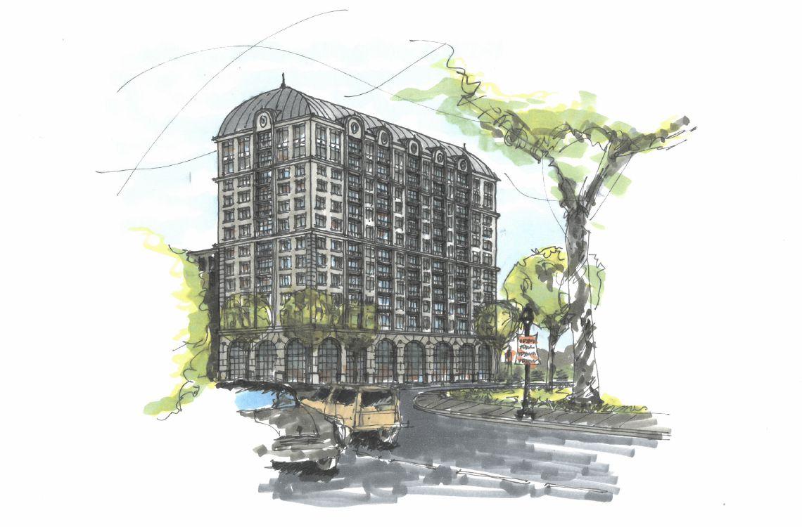 a sketch of the condo development.