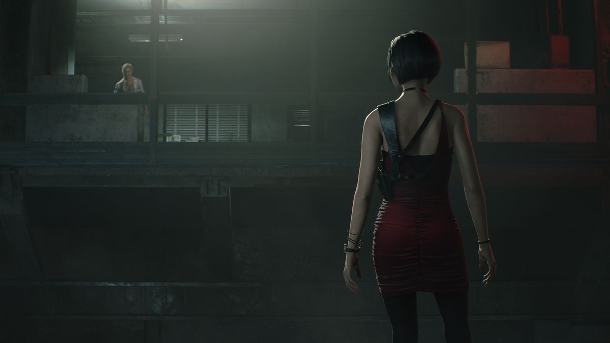 Ada Wong confronts Annette in an underground facility in a screenshot from the Resident Evil 2 remake.