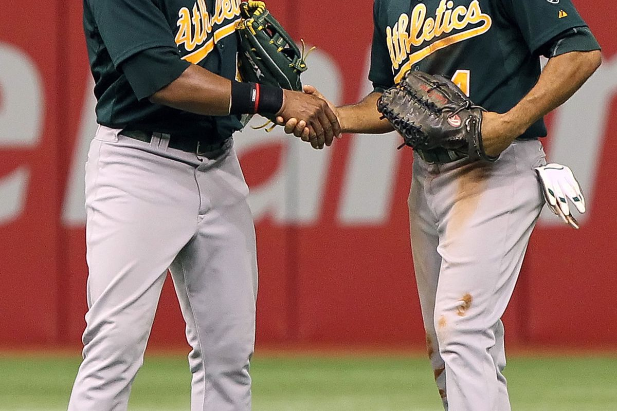 """""""It's great to meet you, Yoenis. I hadn't noticed you because you blend in with the LF wall when you set up for defense."""""""