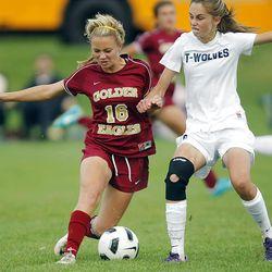 Maple Mountains's #16 Kaitlyn Bailey, left, battles Timpanogos' #16 Olivia Burnett during play Tuesday, Sept. 25, 2012. Maple Mountain won 2-1.