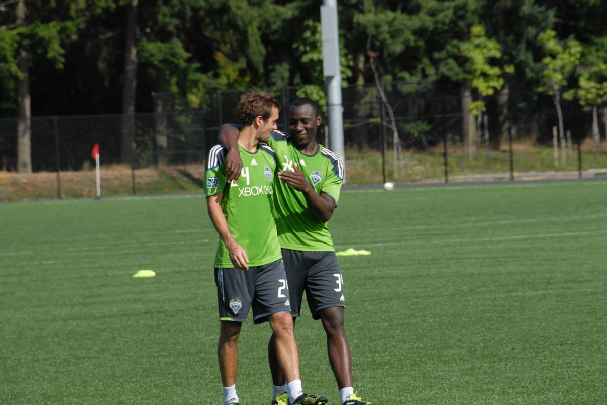 Roger Levesque and Jhon Kennedy Hurtado At Starfire Enjoying Post-Practice Banter (9/19 by Lori Ross for Sounder at Heart)