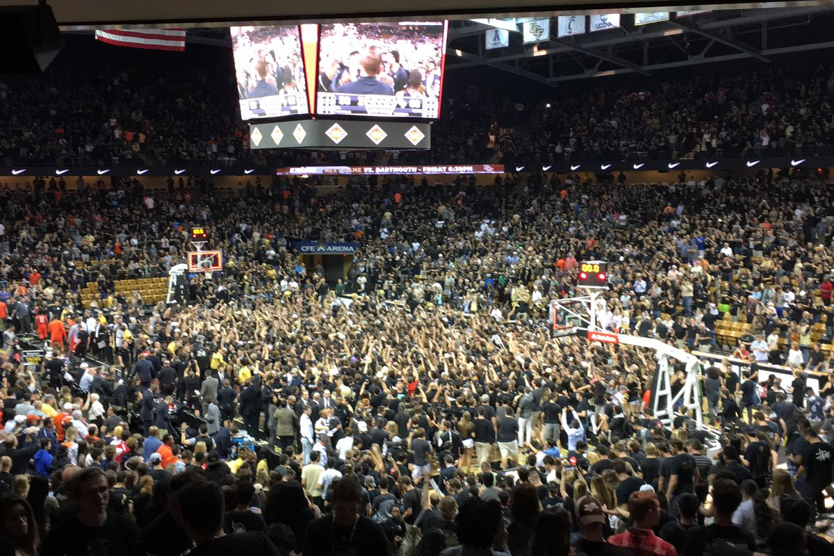 The post-game scene at CFE Arena following UCF's NIT Quarterfinal win over Illinois (Photo: Jeff Sharon)