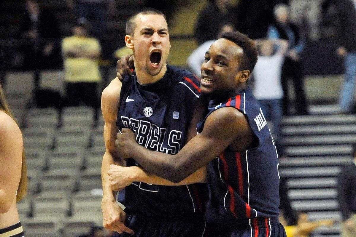 Marshall Henderson reacts to draining the game-tying thirty-five footer as regulation ended.