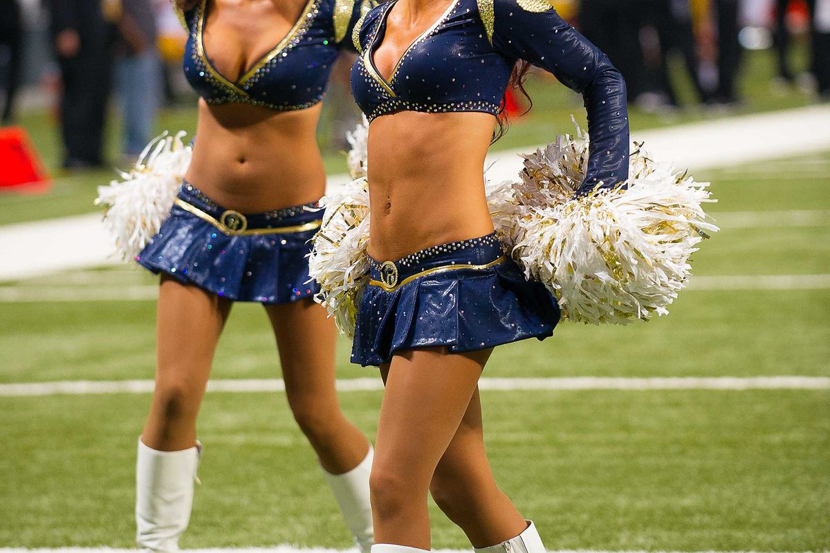 Sept 16, 2012; St. Louis, MO, USA; St. Louis Rams cheerleaders perform during the game against the Washington Redskins at the Edward Jones Dome. The Rams defeated the Redskins 31-28. Mandatory Credit: Photo by Scott Rovak-US PRESSWIRE