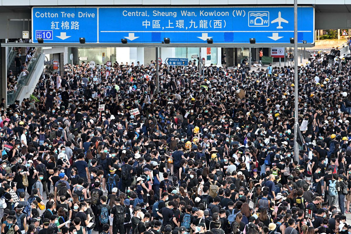 Protesters gather outside the government headquarters in Hong Kong on July 1, 2019.
