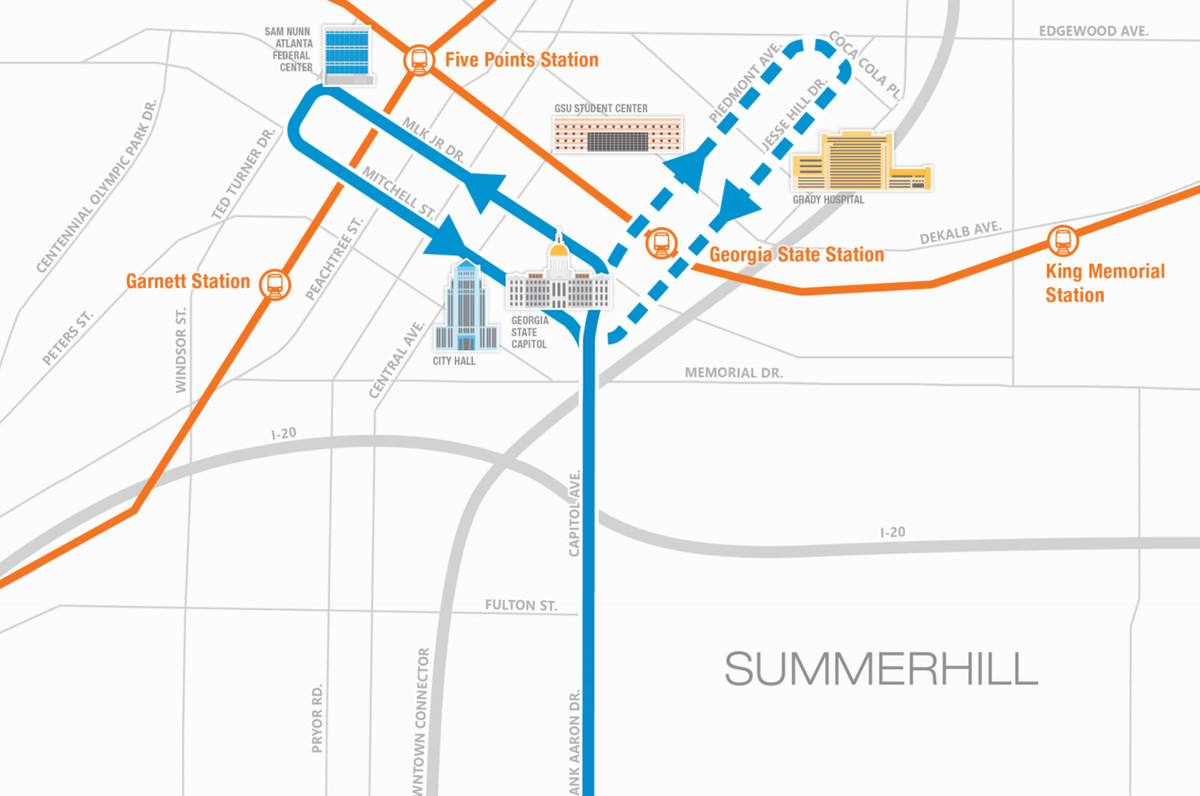 A map shows a proposed route and an alternative option for the turnaround for the planned BRT route.