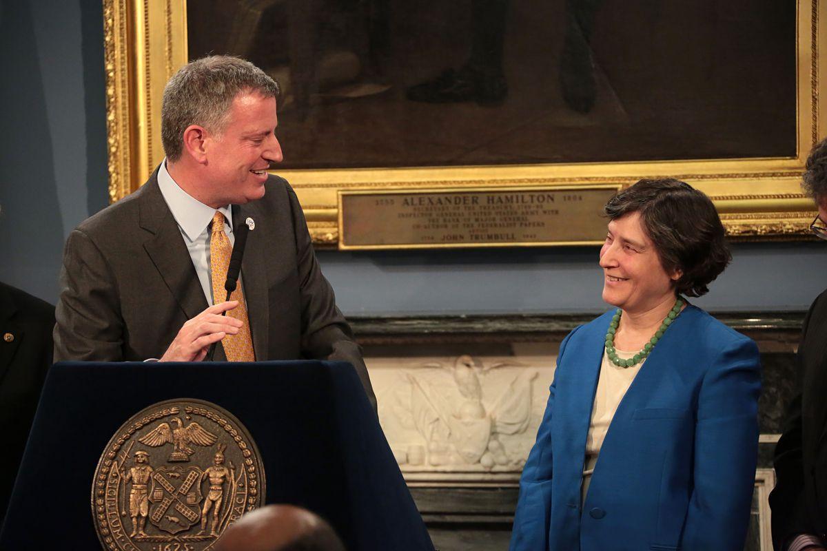 Mayor Bill de Blasio announces appointee Liz Glazer, Criminal Justice Director at City Hall on Tuesday, March 11, 2014.