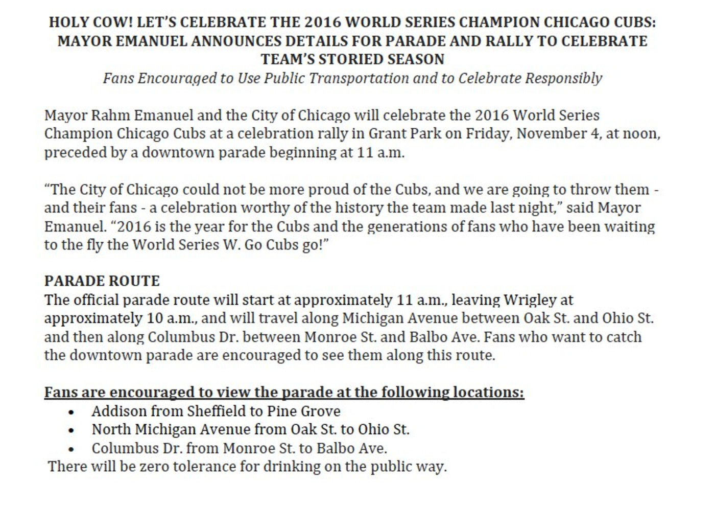 Friday's Cubs World Series Parade: Start time, route, and