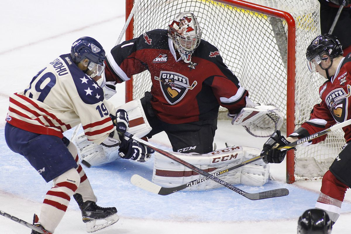 Tyler Sandhu (19) was one of five Tri-City Americans to score in a 5-1 win over Vancouver on Tuesday.