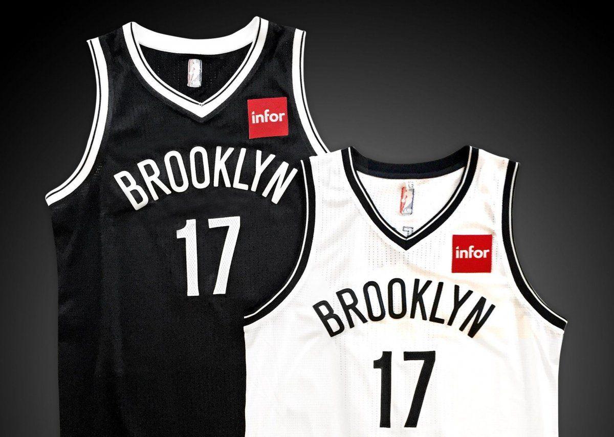 deeac1ec70ef A black Brooklyn jersey with white writing and a white Brooklyn jersey with  black writing. NBA