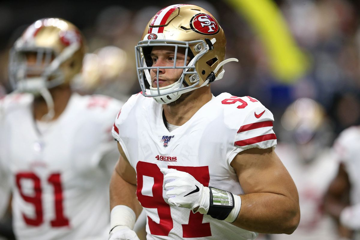San Francisco 49ers defensive end Nick Bosa before their game against the New Orleans Saints at the Mercedes-Benz Superdome.